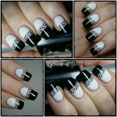 STRIKING! Black & white lace nail art manicure. Lace is stamped on nails from a Bundle Monster plate.