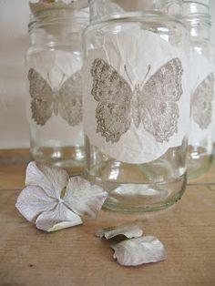 DIY::Vintage Jars  (wax paper decoupage tutorial)