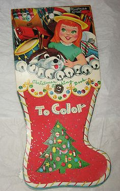 vintage christmas book christmas stocking book to color w red flocked stocking