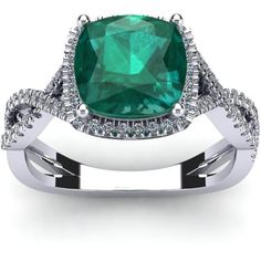FireFacet 2 1/2 CT TW Emerald and Diamond 14K White Gold Twisted Shank Halo Ring