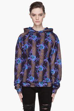Christopher Kane Blue Floral Print Bouquet Hoodie