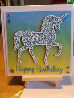 Unicorn Card - Intricut Die Unicorn Cards, Unicorn Birthday Cards, Shelley Craft, Kids Cards, Unicorns, Mermaids, Handmade Cards, Cardmaking, Wrapping