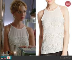 Petra's white embellished top on Jane the Virgin.  Outfit Details: http://wornontv.net/40197/ #JanetheVirgin