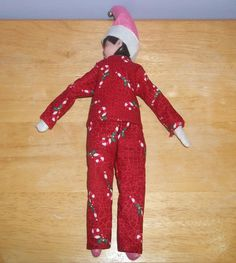 Christmas Elf doll pajama top and pants red and white with Candy Canes by on Etsy Christmas Elf Doll, Candy Canes, Pajama Top, Red And White, Pajamas, Dolls, Trending Outfits, Holiday Decor, Handmade Gifts