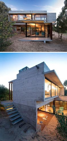 Cozy Concrete And Glass House Ideas Modern Architecture House, Architecture Design, Concrete Houses, House Ideas, Modern Farmhouse Exterior, Glass House, Cozy House, Exterior Design, Beautiful Homes