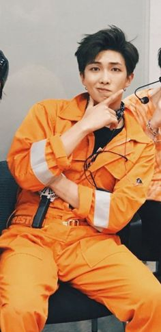 namjoon in orange is my favorite color Kim Namjoon, Kim Taehyung, Seokjin, Jimin, Bts Bangtan Boy, K Pop, Billboard Music Awards, Rapper, Bts Pictures