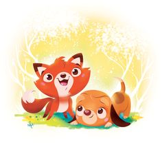Whitney Pollett Brooklyn, NY, USA Fox and the Hound - quick illo on Behance Disney Nerd, Disney Fan Art, Disney Style, Disney Love, Walt Disney, Disney Sketches, Disney Drawings, Drawing Disney, Doodle Drawings