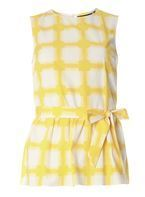 Womens Yellow Gingham Peplum Shell- Yellow