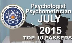 July 2015 Top 10 Psychologist and Psychometrician Board Exam Passers, PRC List of Passers (July Board Exam, Announcement, Boards, Tops, Planks