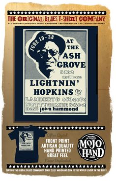 Lightnin Hopkins in concert - a classic Blues  tee only at www.mojohand.com - your home for everything blues