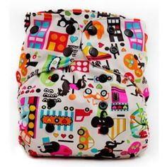 Lalabye Baby OS Pocket Diaper - love this print. Love that this diaper can be used as an AI2 or a pocket diaper. Also love how trim and soft the bamboo inserts are. Find at Kebbie's Diaper Bag.