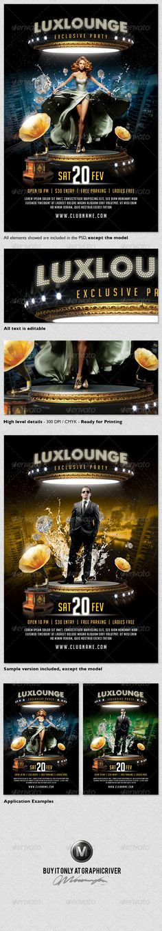 Lux Lounge Party Flyer Template - GraphicRiver Item for Sale