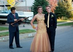 Photobomb- I bet this one has a great story behind it... 'When dad threatened Becky's prom date with the shot gun'