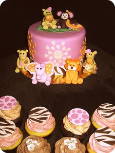 Safari Baby Shower Cake and Cupcakes.  For more pics of our work or pricing info, visit our website: www.simplysweetonline.com