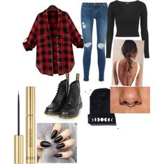 Oversized Plaid by sunnymuffins96 on Polyvore featuring polyvore, fashion, style, Topshop, Current/Elliott, Dr. Martens and Yves Saint Laurent