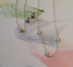marcella bernstein sterling silver granulation and diamond single and triple station necklaces and post earrings