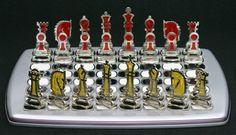 Jogo de xadrez de metal e resina
