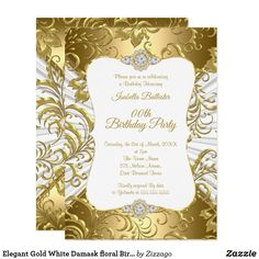 Shop Elegant Gold White Damask floral Birthday Party Invitation created by Zizzago. Custom Invitations, Shower Invitations, 21st Birthday Invitations, White Damask, White Gold, Golden Birthday, Quinceanera Invitations, Birthday Woman, Party Stores
