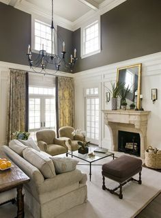 two story living room angled ceiling decorating ideas trim - Google Search