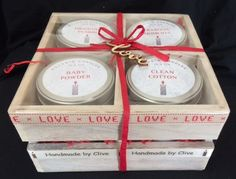 'Love' Wooden Gift Crate with 4 'Candles In A Tin' Gift Crates, Wooden Gifts, Chocolate Gifts, Valentines Day, Candles, Handmade, Valentine's Day Diy, Wood Gifts, Hand Made