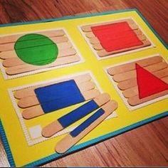 DIY Popsicle Stick Shape puzzle / color recognition activity for Preschoolers / preschool aged children