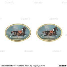 "The Piebald Horse ""Cehero' Rearing Gold Cufflinks"