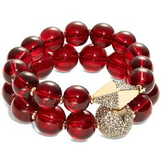 T&C Theodora & Callum Beaded Bangle Bracelet Set (£18) ❤ liked on Polyvore featuring jewelry, bracelets, jewelry bracelets/watches, jóias, red, pave bangle bracelet, bangle bracelet, bead jewellery, red jewelry and red bead jewelry