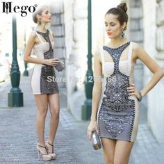 HEGO 2015 Wholesale Kim Kardashian Spaghetti Strap Retro Dress Combo Amanda Lace Print Sexy Bandage Dress H282