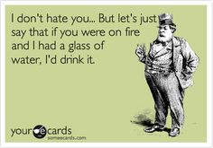 I don't hate you... But let's just say that if you were on fire and I had a glass of water, I'd drink it.