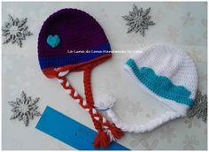 Cappellino da bambina ispirato a Elsa e Anna di Frozen - uncinetto