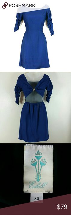 Designer Silk Open Back Dress by Eskell This silk dress has ruched sleeves, and an open back with a magnetic closure. Size XS. Eskell Dresses Backless