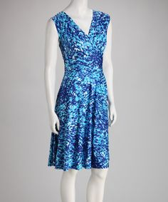 Take a look at this Blue Confetti Sleeveless Surplice Dress by AA Studio on #zulily today!