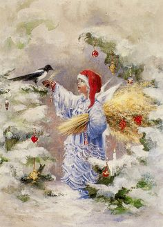 (Sussi Anna Åberg):   Christmas angel feeding a bird in decorated woods