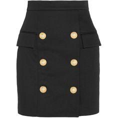 Balmain Cotton mini skirt ($1,215) ❤ liked on Polyvore featuring skirts, mini skirts, balmain, black, saias, cotton skirts, zipper skirt, balmain skirt and short cotton skirts