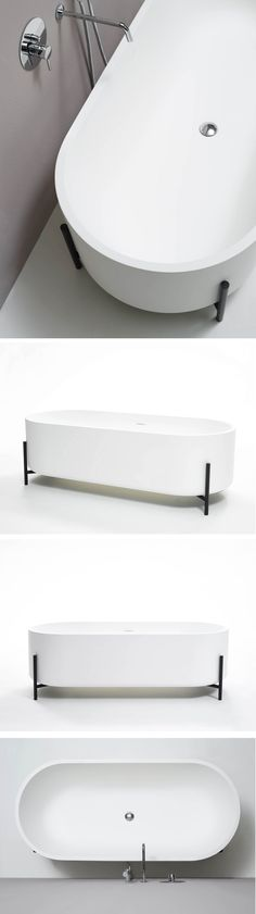 Freestanding Livingtec® bathtub, design by Norm Architects Minimalist Bathroom, Modern Bathroom, White Bathrooms, Family Bathroom, Bathroom Toilets, Bath Design, Beautiful Bathrooms, Bathroom Interior, Bathroom Inspiration