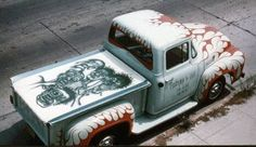 VEHICLES YOU SHOULD KNOW #12 In 1957 Ed Roth sold his 1948 Ford in order to buy a white 1956 Ford F-100. Ed painted red flames on the truck, and used it as advertising for his business. The advertising worked, and Ed got a lot of customers off the street wanting flames on their cars. On the tonneau cover of the car, Ed had also airbrushed a mural.