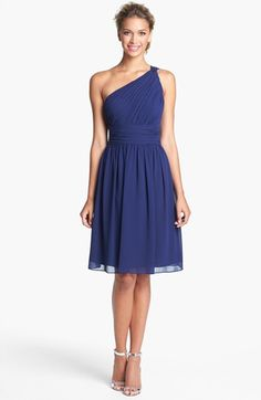 Donna Morgan 'Rhea' One Shoulder Chiffon Dress available at #Nordstrom $178  #596101in midnight