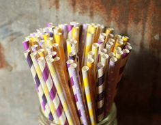 Purple & Yellow Paper Straws -- Set of 25 -- Lavender - Lemon, Tangled Party Theme on Etsy, $4.25