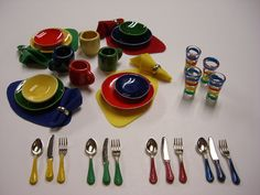 12 Fiesta Dinner Set w/ Placemats, Napkins, Glassware & Flatware Check out missdollhouse.com