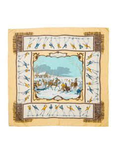 Pale yellow and multicolor Hermès silk scarf with 'Les Plaisirs du Froid' motif and hand rolled edges. Includes box.