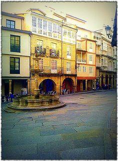 Praza do Ferro. no casco vello de Ourense. Galicia. Spain.