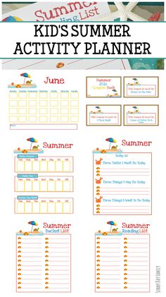 Summer activity planner & summer fun coupon book for kids! Keep track of all your summer plans with this awesome printable planner - includes a summer bucket list, summer reading list, planning and to do pages, plus an awesome summer fun coupon book for kids. Love this!