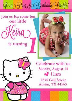 Free Printable Hello Kitty 1st Birthday Invitations