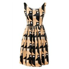 Geometric Pattern Print Pleated Khaki Dress   pariscoming