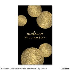 Black and Gold Glamour and Beauty Business Cards (Pack of 100)