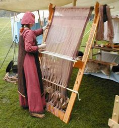 warp weighted loom from a German reenactor. Interesting toe board bolted on for stability.