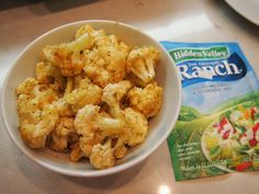 ranch roasted cauliflower The Recipe The rest is super simple. You will need: 1/2 head of cauliflower, cut into bite-sized florets 2 tablespoons olive oil 3-6 teaspoons Hidden Valley Ranch Salad Dressing & Seasoning Mix, depending on how intense you want the ranch flavor to be 1/4 cup plain breadcrumbs