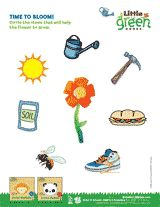 Time to Bloom! In this spring worksheet, children circle the items that will help a flower grow.