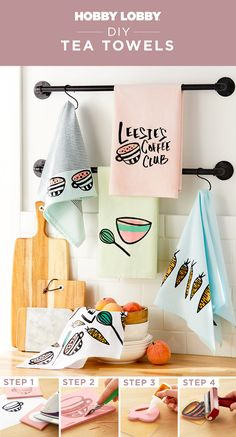 Turn a basic towel into a personalized masterpiece in just a few simple steps! Use a block-printing kit to start crafting today. Clean My House, Tea Towels, Hand Stamped, Diy Home Decor, Diy Crafts, Dish Towels, Diy Ideas For Home, Make Your Own, Homemade