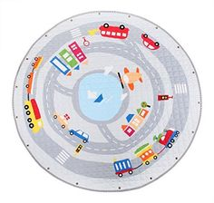 Winthome Baby Kids Play Mat Foldable Toys Storage Organizer Children Play Rugs with 59 Inches Large Diameter Soft Cotton and Washable
